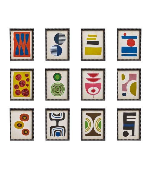 Set of 12 Dera Framed Abstract Prints - Multi