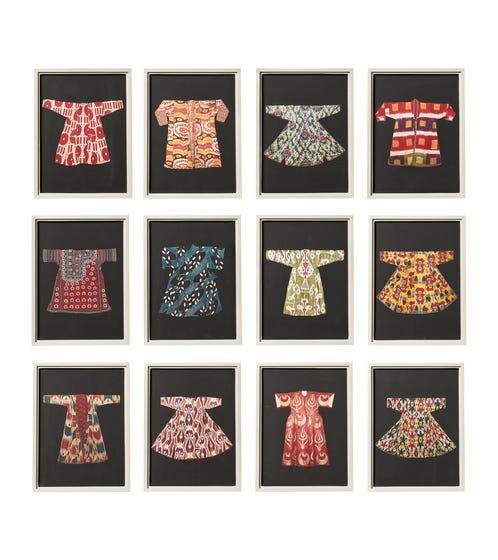 Set of 12 Traditional Coat Prints - Multi