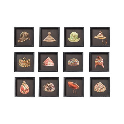 Set of 12 Traditional Hat Prints - Multi