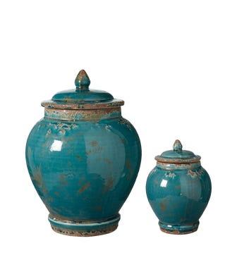 Set of 2 Zion Lidded Urns - Aruba Blue