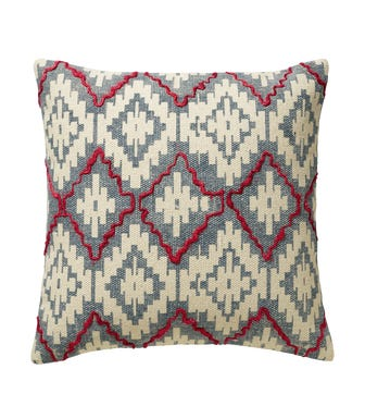"""20"""" Large Yaqui Pillow Cover - Blue/Red"""