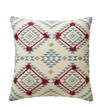 """20"""" Large Yocha Pillow Cover - Blue/Red"""