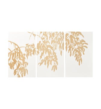 Set of 3 Hand-Carved Branch Panels - Natural / Off White