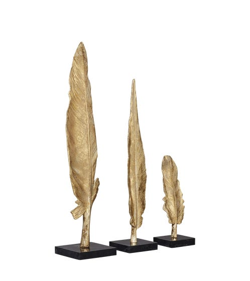 Set of 3 Jujak Feather Decorations - Gold