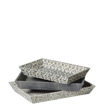Set of 3 Very Useful Ikat Trays - Grey