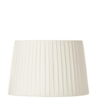 30cm Pleated Linen Lampshade - Off White