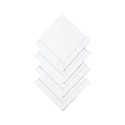 Set of 4 Chaillot Hemstitched Napkins - White