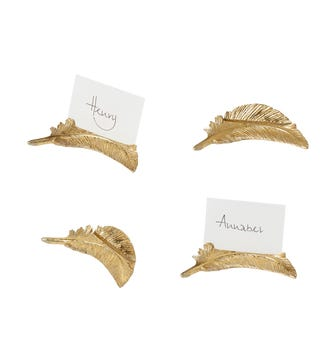 Set of 4 Decorative Feather Namecard Holders - Gold