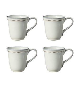 Set of 4 Kropka Dots Mugs - White
