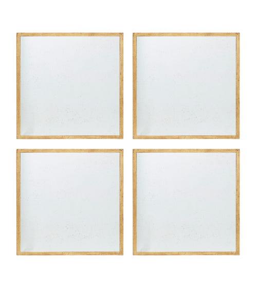 Set of 4 Quatrain Mirrors - Antique Gold