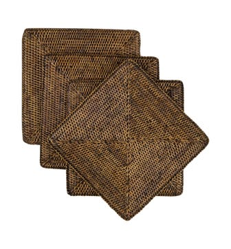 Set of 4 Rattan Square Placemats - Brown