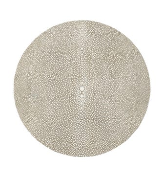 Set of 4 Round Faux Shagreen Placemats - Taupe