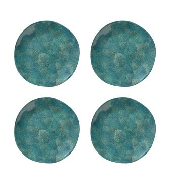 Set of 4 Shagreen Print Dinner Plates - Jade