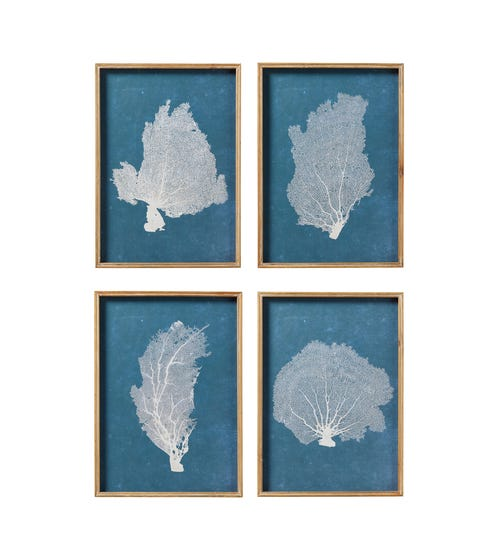 Set of 4 Skeleton Coral Prints - Blue/White