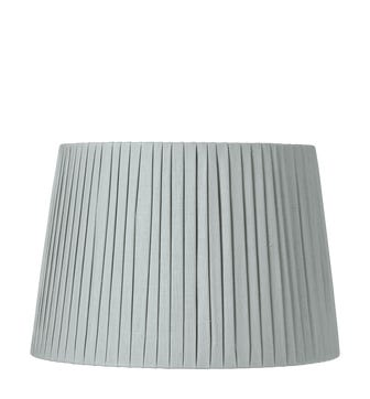 40cm Pleated Linen Lampshade - Grey Blue