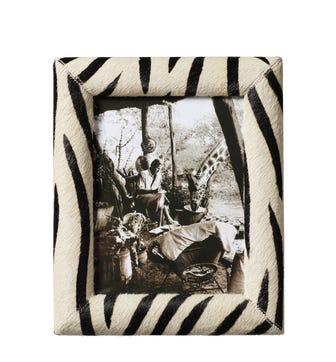 Goat Hair Photo Frame Large - Zebra