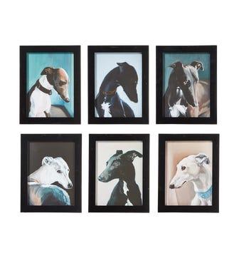 Set of 6 Framed Whippet Portrait Prints - Multi
