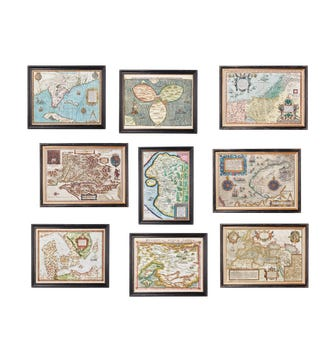 Set of 9 World Map Prints - Multi