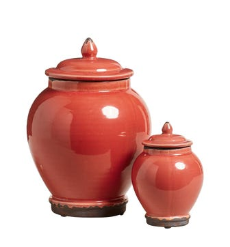 Set of Two Zion Lidded Urns - Coral