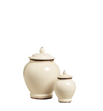 Zion Lidded Urns Set of 2 - Distressed White
