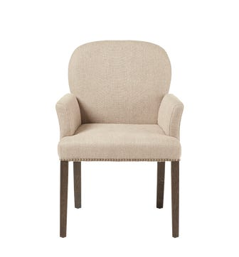 Stafford Dining Chair With Arms - Sand Herringbone