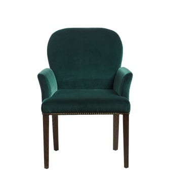 Stafford Dining Chair With Arms - Midnight Green