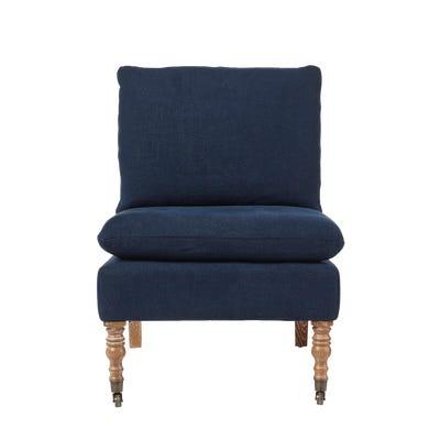 Apadana Linen Armless Chair - Pure Navy