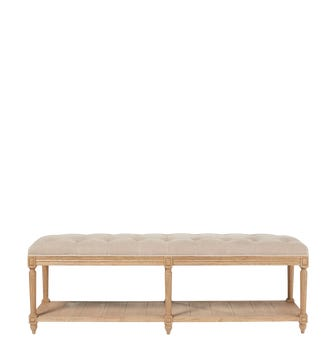 Ashdown Solid Oak And Linen Bench - Taupe