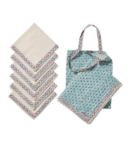 Aswathi Tablecloth, Napkins & Tote Bag Set - Blue/Red