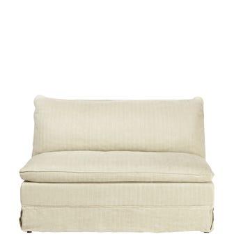 Bretigny Armless Sofa - Flax Narrow Herringbone