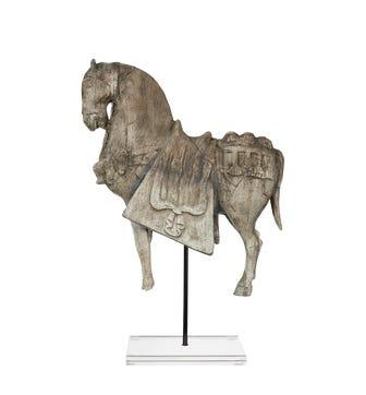 Bucephalus Horse on Acrylic Stand, Large - Verdigris