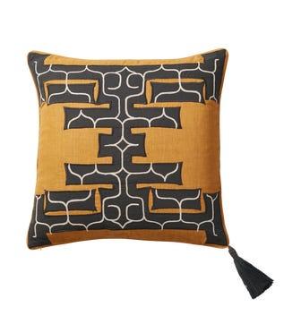 Burijji Cushion Cover(56cmSq) - Saffron/Onyx