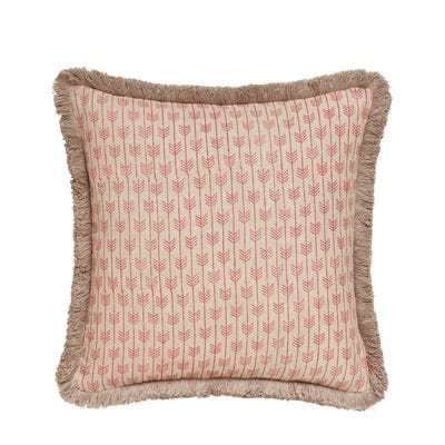 Caladia Pillow Cover With Fringing - Red Madder