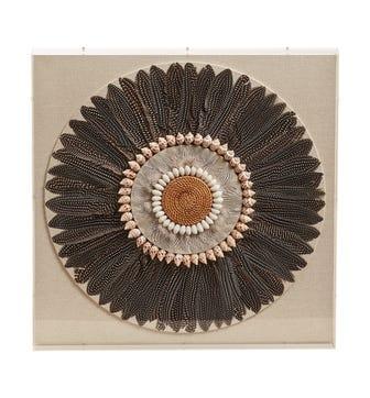 Carola Feather Wall Art - Black / Natural