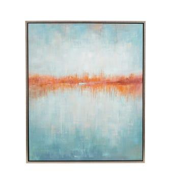 Carsington Framed Hand-Painted Wall Art - Sea Blue