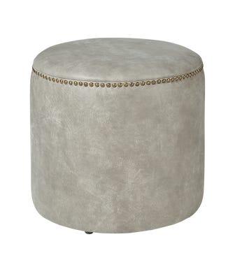 Costellini Leather Ottoman - Ash Grey