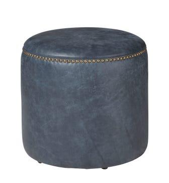 Costellini Leather Ottoman - Smoke Blue