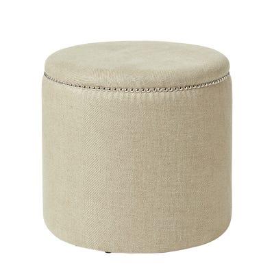 Costellini Linen Ottoman - Sand Wide Herringbone