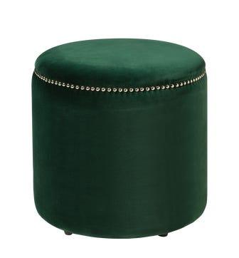 Costellini Velvet Ottoman - Midnight Green