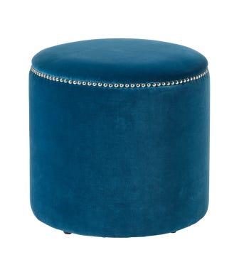 Costellini Velvet Ottoman - Sea Blue