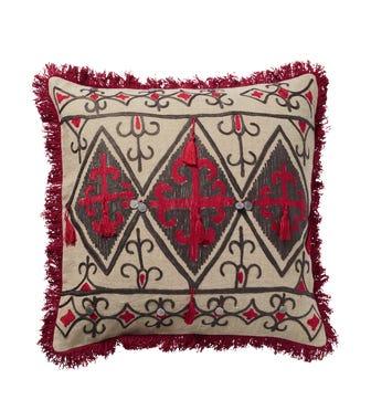 Cruzata Pillow Cover - Red/Gray