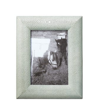 Curved Faux Shagreen Frame, Small - Taupe
