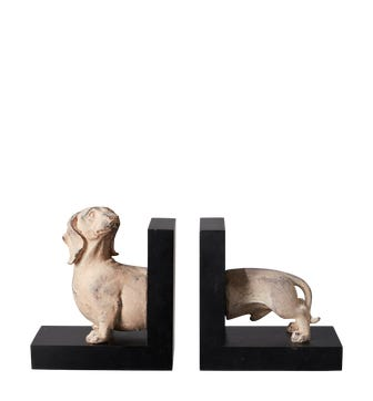 Dachshund Dog Bookends - Natural