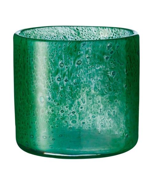 Dappled Glass Candle Holder - Green