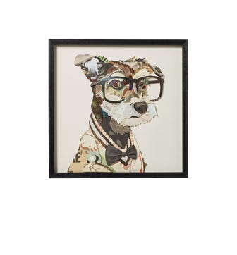 Framed Intellectual Dog Collage - Multi