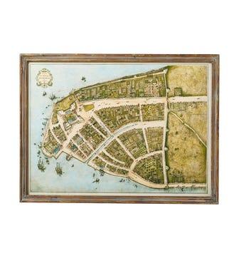 Early New Amsterdam Map Framed Print - Multi