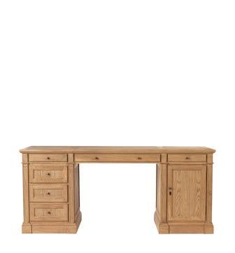 Edward Weathered Oak Desk with Cupboard - Wood