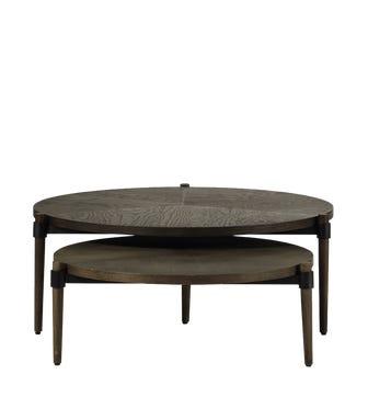 Set of Two Garasu Nested Coffee Tables - Aged Bark