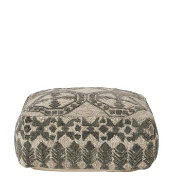 Ely Floor Cushion - Granite/Lead White