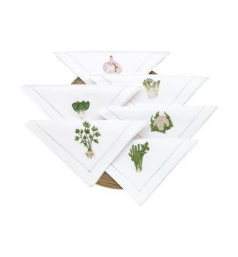 Embroidered Vegetable Napkins, Set of 6 - White